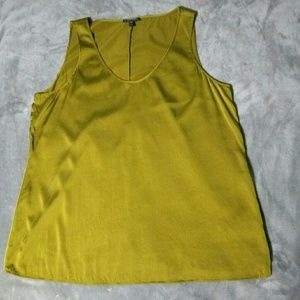 Eileen Fisher Chartreuse  Silk Blend Blouse Size L